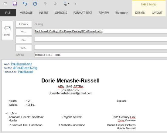 Actor Resume in Body of Email