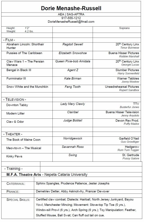 resume for actors